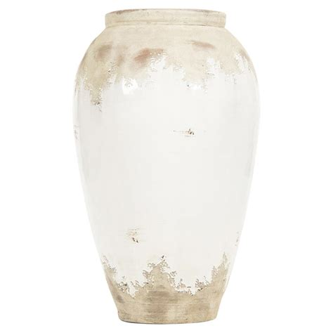 Distressed Floor Vase - siena white rustic distressed white ceramic floor vase