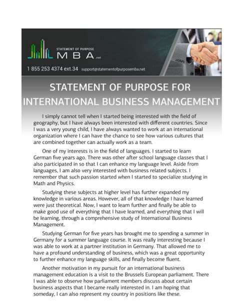 Statement Of Purpose For Mba In Business Management by Exle Statement Of Purpose For International Business