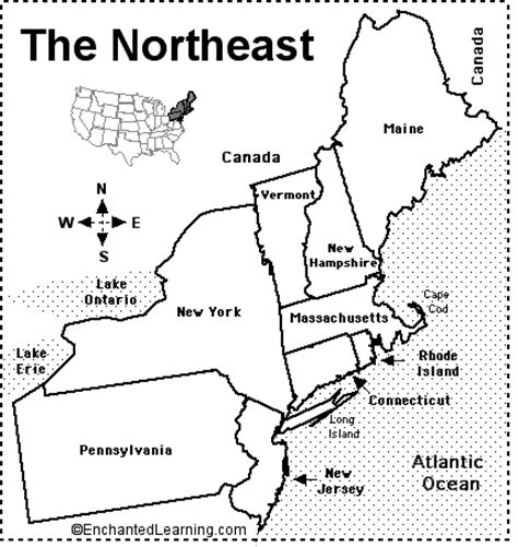 map of the united states northeast region northeastern states map quiz printout enchantedlearning