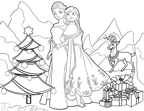 coloring page frozen christmas anna elsa christmas twistermc
