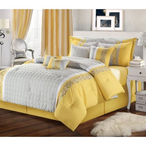 Yellow Comforters by 12pc Mackenzie Yellow Grey Luxury Bedding Set Luxury Bed