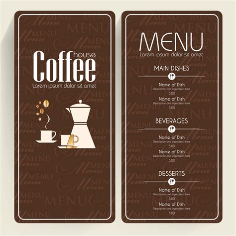 coffee menu template free brown background coffee menu free vector in adobe