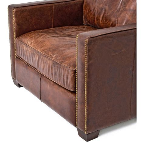 nailhead armchair hemingway rustic lodge cigar brown leather brass nailhead