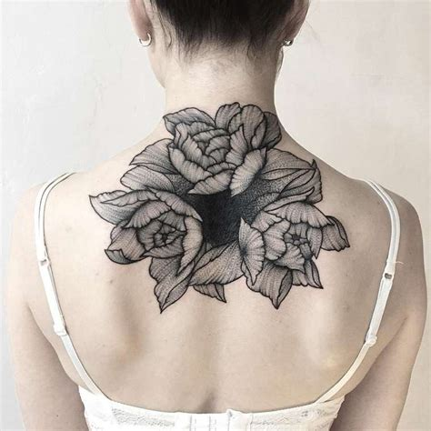 massive tattoo black ink dot style painted back of