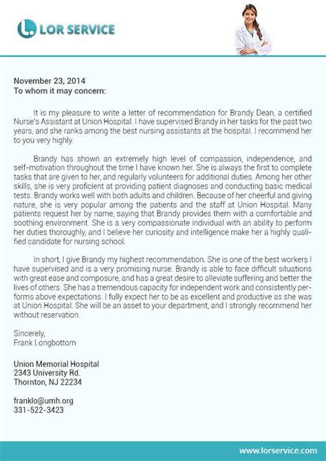 Recommendation Letter Format For Dental School Nursing Letter Of Recommendation Sle On Behance