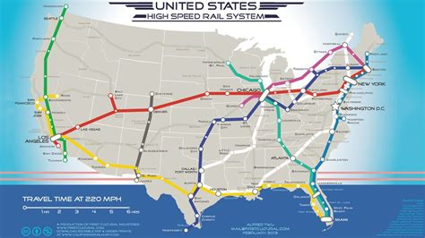 railway map of usa map shows where 220mph trains would go in the u s