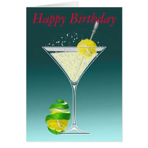 Tennis Martini Birthday Personalized Greeting Card