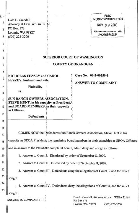 Sroa 2009 Lawsuit Tracking Lawsuit Complaint Template