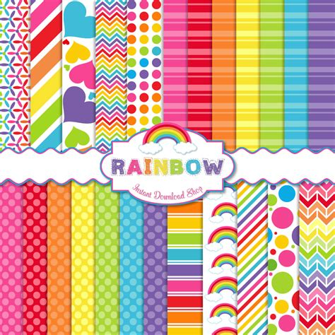 pattern paper etsy rainbow digital paper pack scrapbook papers 24 jpg files 12