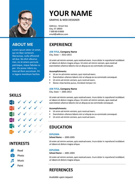 Resume Color by Bayview Stylish Resume Template