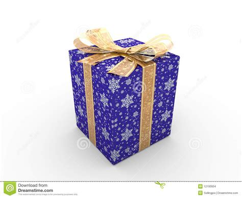 Blue gift box fancy bow stock illustration. Image of