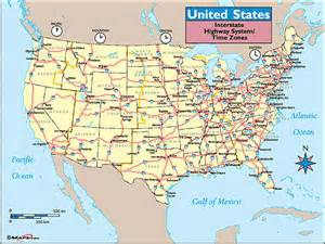 Highway Road Map Of United States by United States Time Zones Amp Interstate Highways Map By Maps