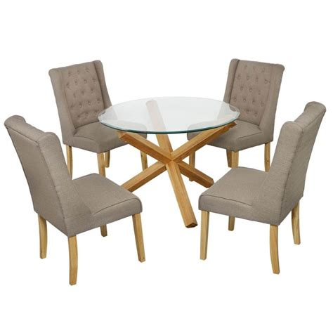 Grange Glass Dining Table And 4 Verona Chairs Fads Oak And Glass Dining Table And Chairs