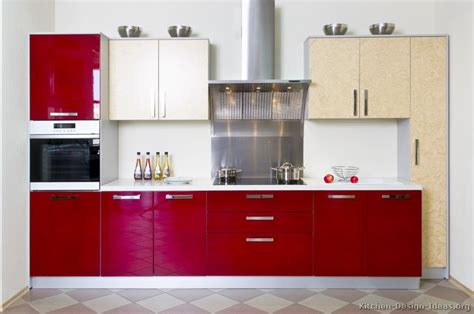 red kitchen with white cabinets pictures of kitchens modern red kitchen cabinets page 3