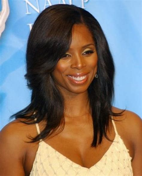 african american hairstyles who has hair on 1side short on other straight long hair with side bangs african american