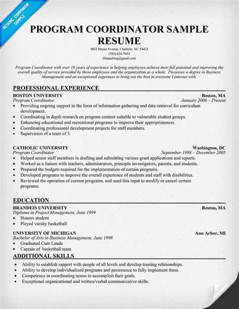 After School Coordinator Sle Resume by Program Director Resume Objective 28 Images Resume Objective Program Manager Image Search