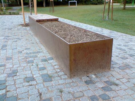 Corten Bench corten steel and wood combination planter and bench
