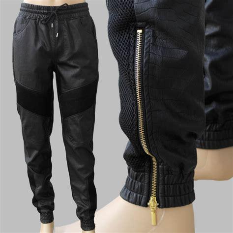 Zipper Unisex Hitam unisex faux leather biker jogger golden