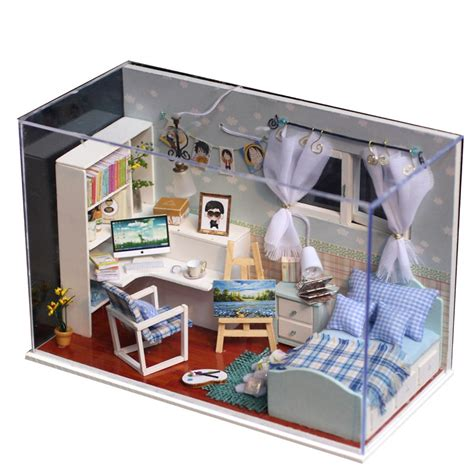 Handmade Kits - diy miniature led bedroom doll house model kit wooden