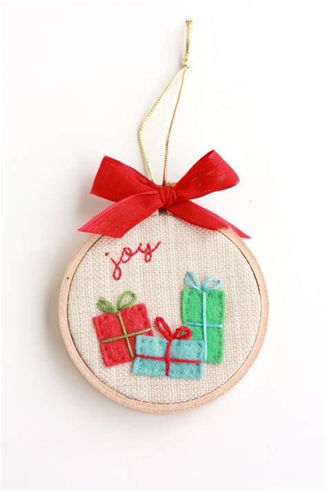 gifts bring joy 3 quot hoop art christmas ornament 9 00 via