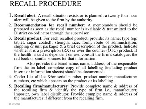 product recall plan template market complaints and product recall