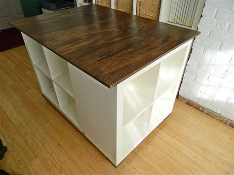 diy rolling craft table on wheels using ikea 3x expedit bookcases castors plywood
