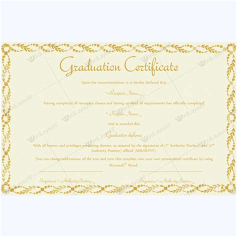graduation certificate template word 89 award certificates for business and school events