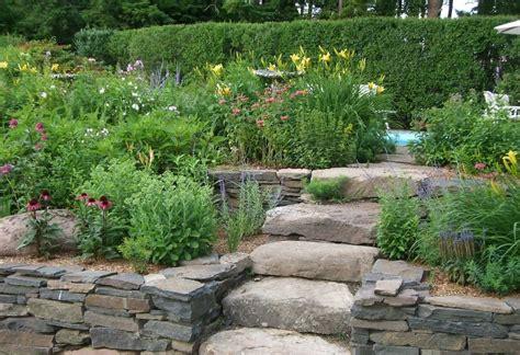 back yard designer tiered garden beds stone garden design with raised bed