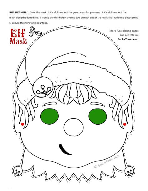 printable elf project christmas elf mask printable coloring page more fun