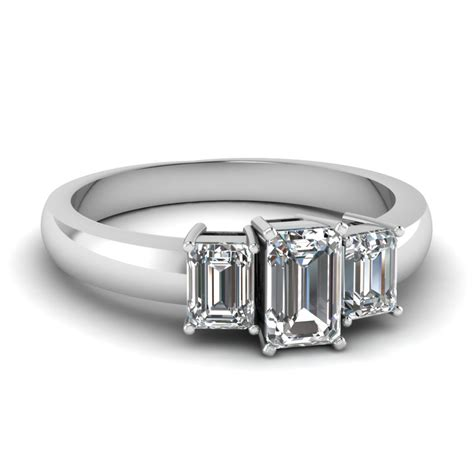 1 5 carat 3 emerald cut engagement ring in
