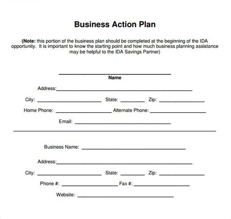 blank template for business plan stunning action plan template exle for business with