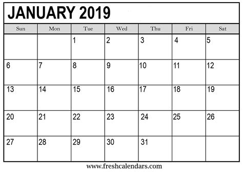 Printable January 2019 Calendar Fresh Calendars 2019 Planner Template
