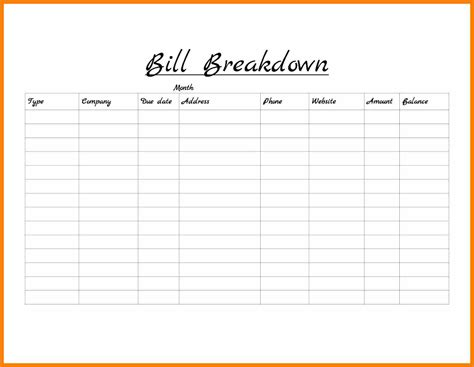 month template monthly bill template fetsybeadsbook