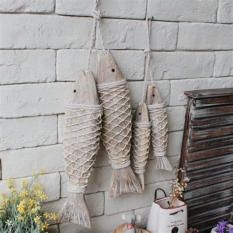 Wooden Fish Wall Decor by Mediterranean Style Wooden Fish Wall Hanging Decorated