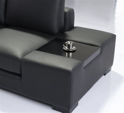 T35 Sectional Sofa Modern Black Italian Leather Sectional Sofa T35 Mini W Lighting