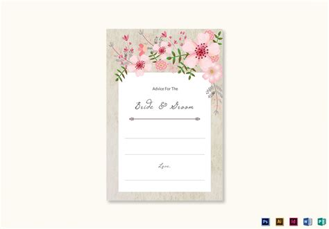 bridal advice cards template pink floral wedding advice card design template in psd