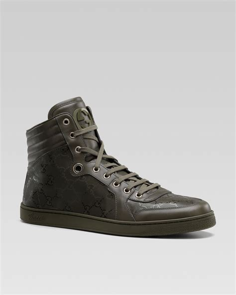 green gucci sneakers gucci coated canvas sneaker in green for lyst