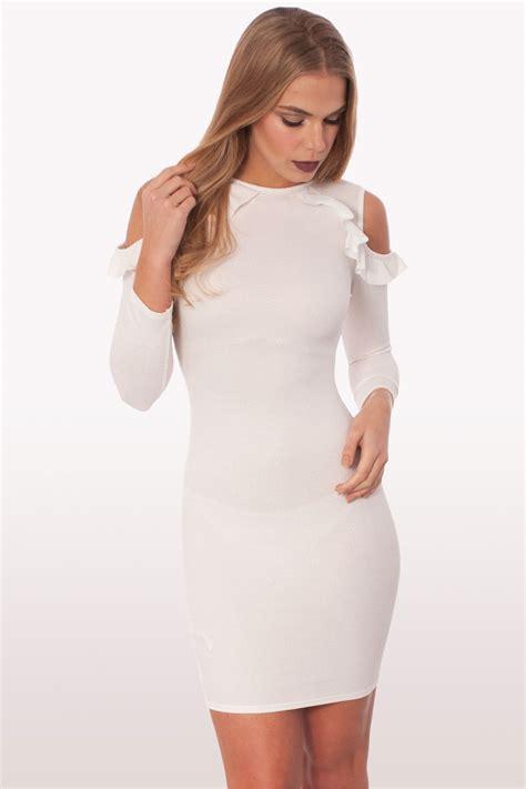 Dress Mini Mano 2 raquel white ruffle bodycon mini dress dresses modamore