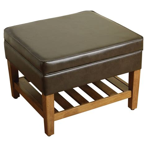 wooden ottoman storage newtown storage ottoman with wood slats threshold ebay