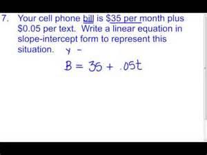 5 3 f slope intercept word problems youtube