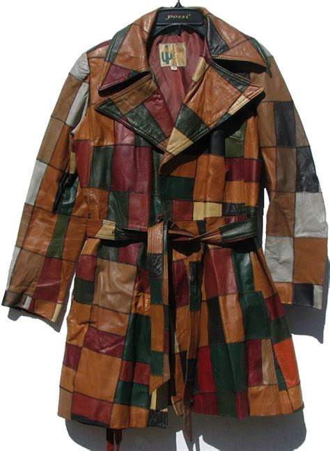 Patchwork Leather Coat - vintage 70s womens patchwork leather coat