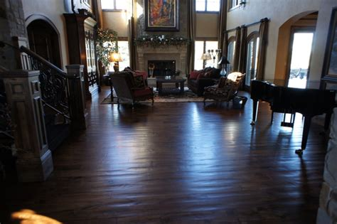 living room wood flooring hand scraped wide plank dark wood floor traditional