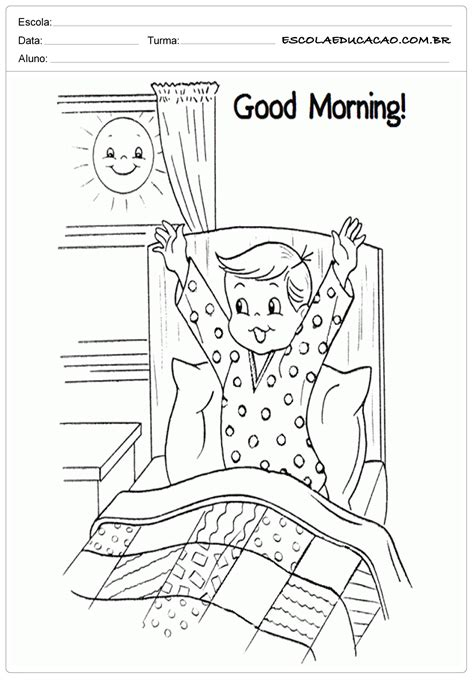 imagenes good morning para colorear ensinar ingl 234 s good morning escola educa 231 227 o