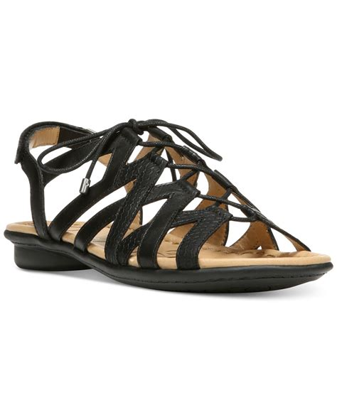 lace up sandals flat naturalizer whimsy lace up flat sandals in black lyst