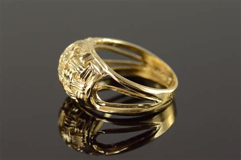 14k woven filigree band yellow gold ring size 7