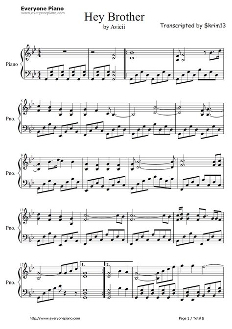 avicii chords hey brother avicii stave preview 1 free piano sheet music