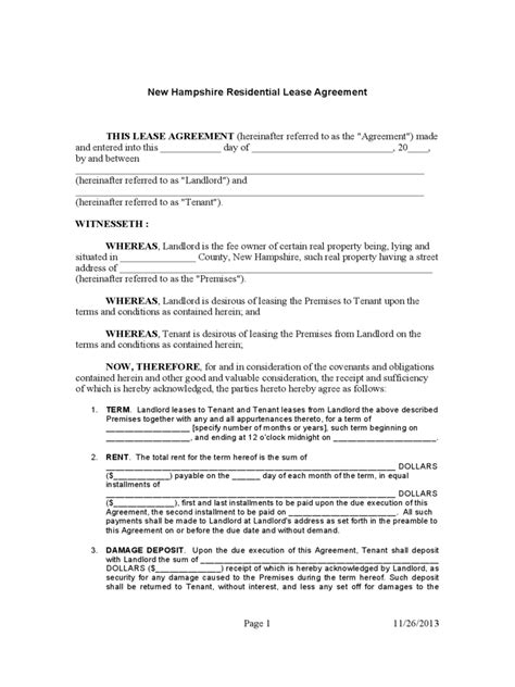 New Hshire Rent And Lease Template Free Templates In Pdf Word Excel To Print Nh Rental Agreement Template
