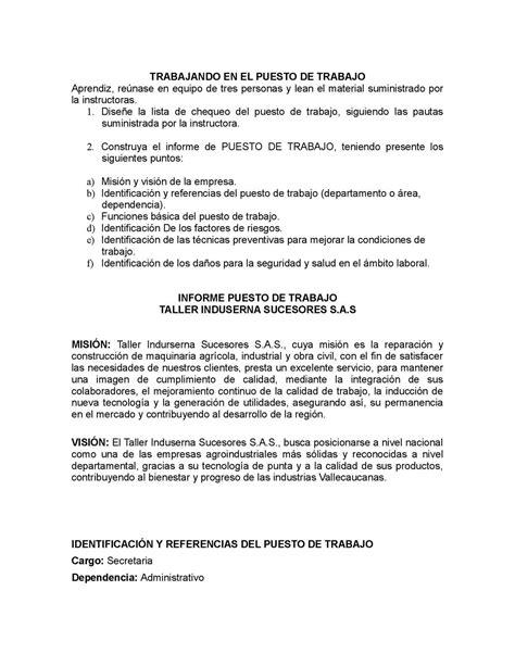 Calaméo - INFORME PUESTO DE TRABAJO