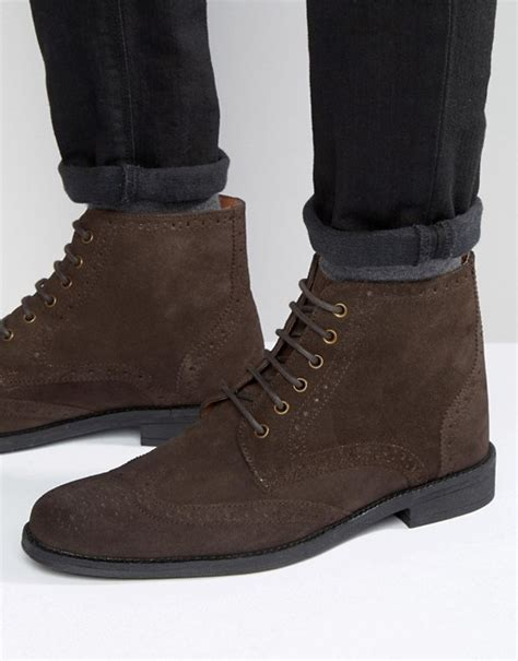 lambretta lambretta brogue boots in brown suede