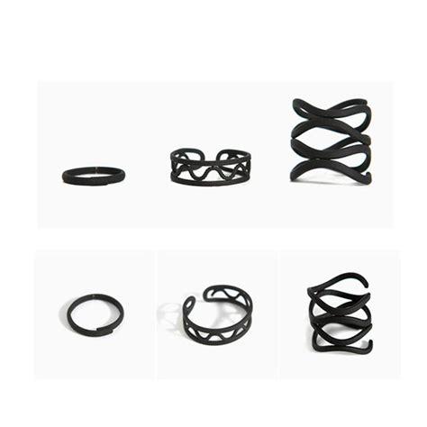 Midi Overall Set Inner black stack plain above knuckle ring midi